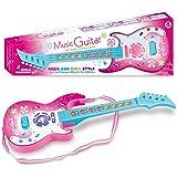 MAJOZ 4 Cuerdas Guitarra Eléctrica Rock para Niños - Juguetes Musicales Guitarra con luz LED -