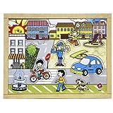 Carlu Brinquedos - Pinos Cidade Quebra-Cabeça da 10 Peças, 3+ Anos, Multicor, 1654