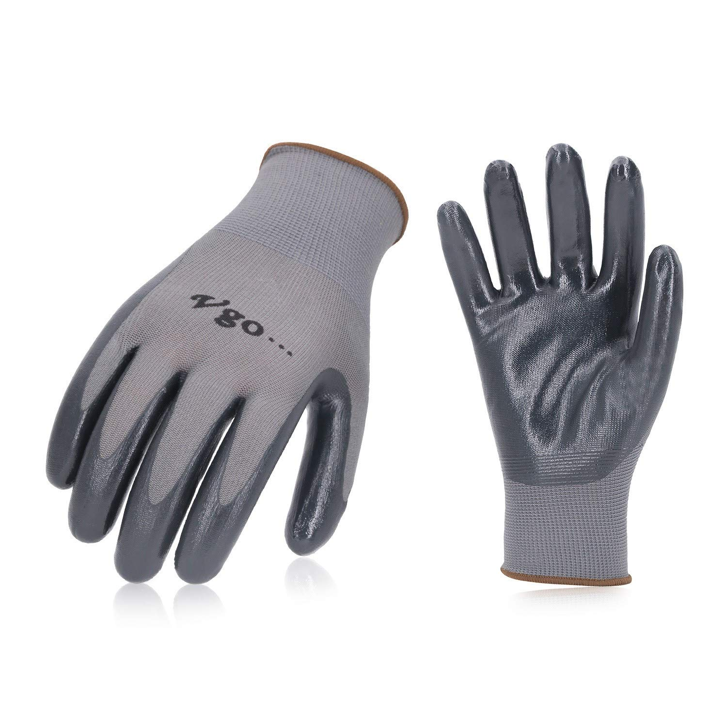 Vgo 10Pairs Nitrile Coating Gardening and Work Gloves (Size L,Grey,NT2110)