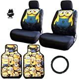 New Design 8 Pieces Dispicable Me Minion Design Car Seat Covers Floor Mats and Steering Wheel Cover Set with Air Freshener