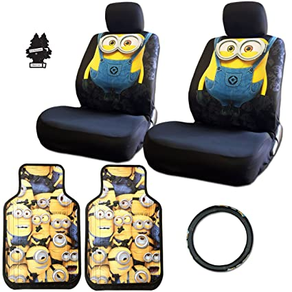 New Design 8 Pieces Despicable Me Minion Car Seat Covers Floor Mats And Steering Wheel