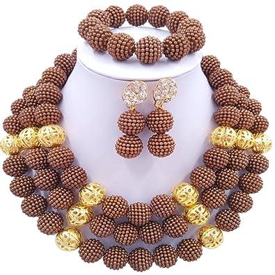 Amazon Com Aczuv 3 Rows Simulated Pearl Beads African Jewelry Set