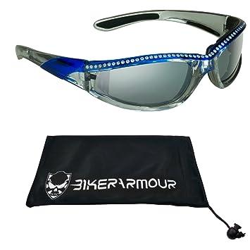 Amazon.com: Gafas de sol de motocicleta con marco cromado ...
