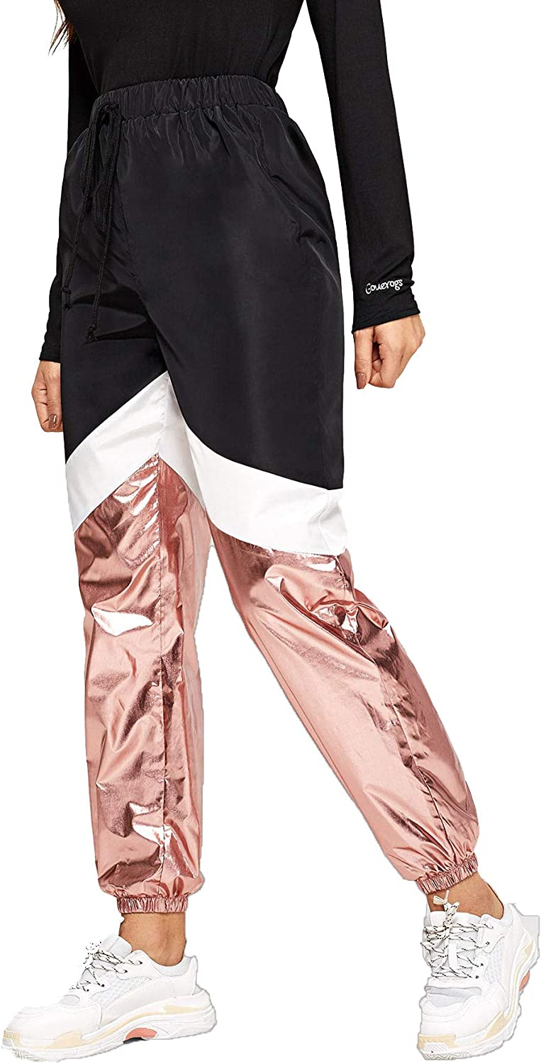 Vintage High Waisted Trousers, Sailor Pants, Jeans Romwe Womens Color Block Sweatpants Loose Metallic Contrast Workout Jogger Tapered Pants $19.99 AT vintagedancer.com