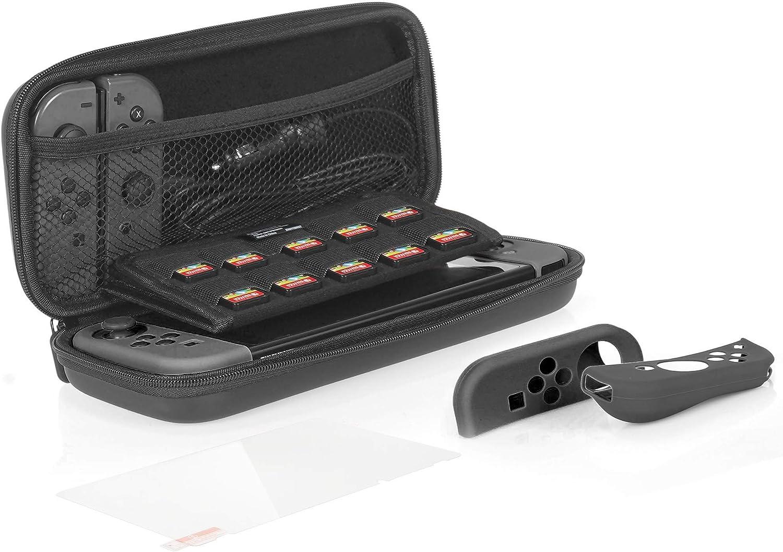 AmazonBasics - Kit de protección para Nintendo Switch, con funda de transporte y protector de pantalla de cristal templado - Negro: Amazon.es: Videojuegos