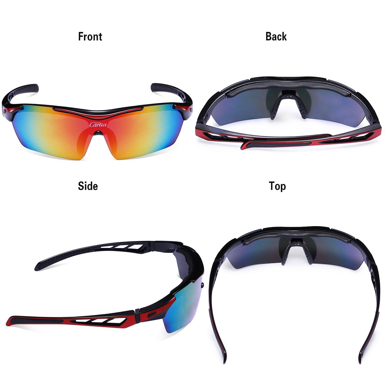 Carfia TR90 UV400 Unisex Gafas de Sol Deportivas Polarizadas 5 Lentes de Cambios Incluido para Deporte y Aire Libre Ciclismo Conducción Pesca Esquiar Golf ...