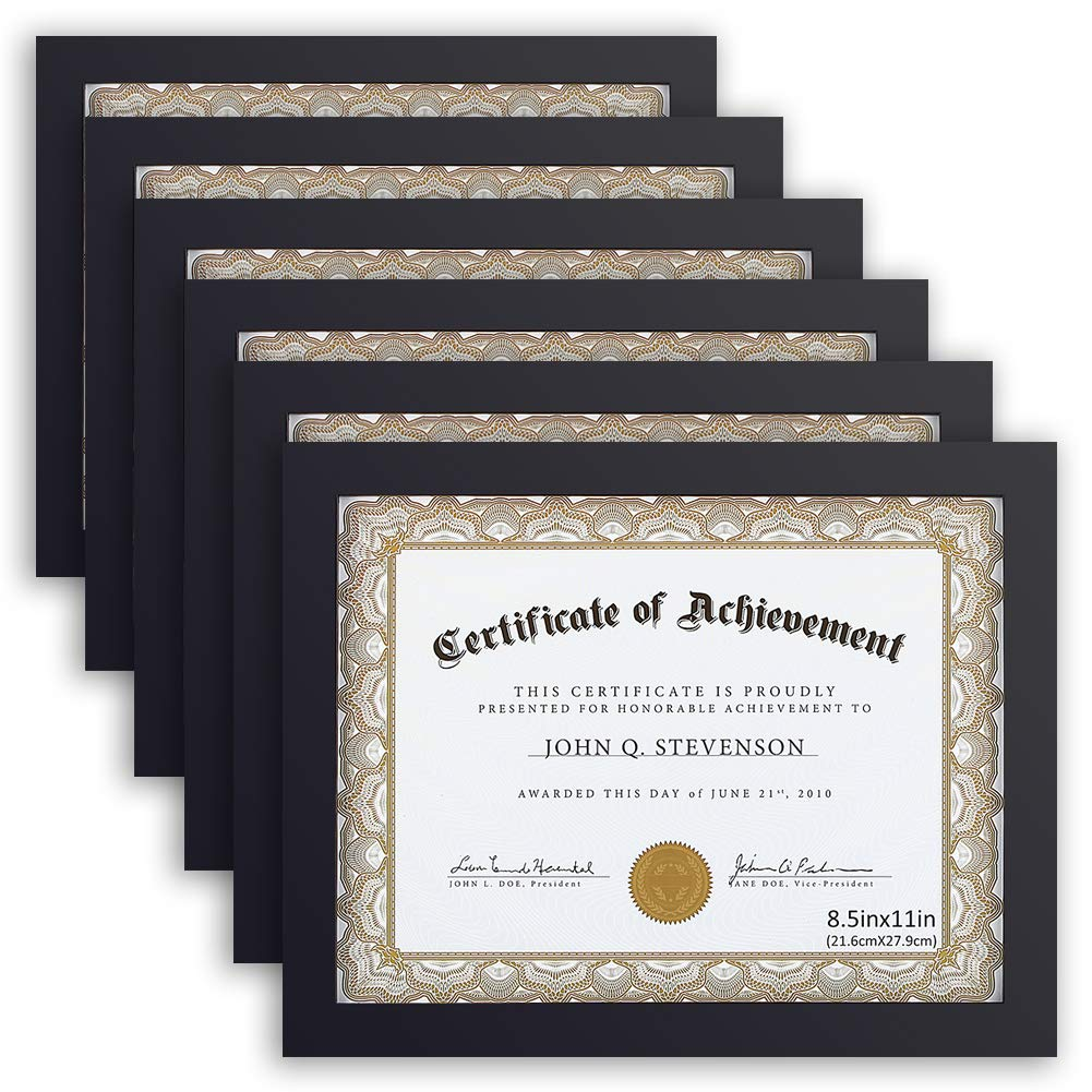 RPJC Document Frame Certificate Frames (6PK) Made of Solid Wood High Definition Glass and Display Certificates 8.5x11 Inch Standard Paper Frame Black