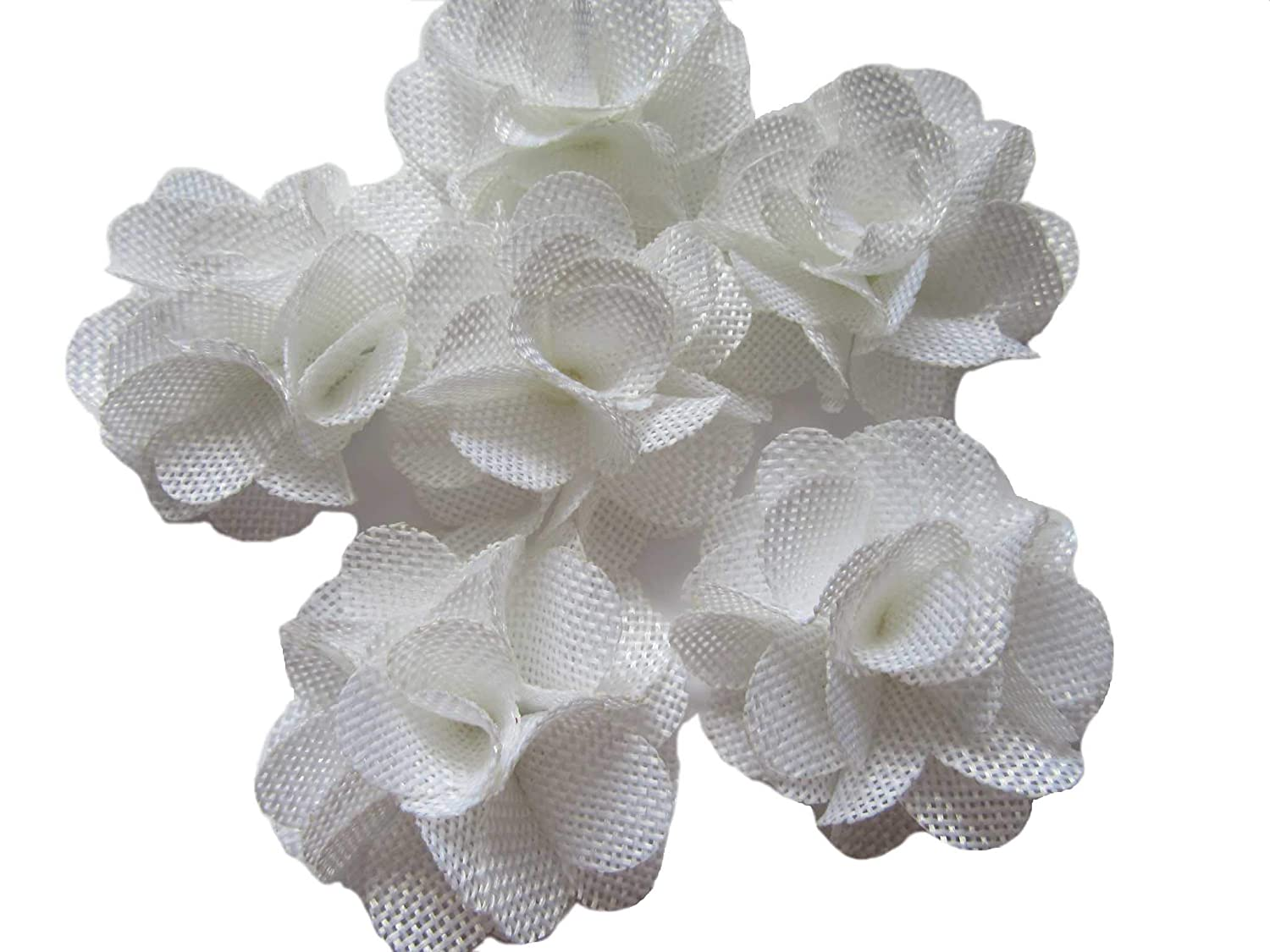 2.25 White, About 2.25 YYCRAFT 15pcs Burlap Flower Roses,3D Fabric Flowers for Headbands Hair Accessory DIY Crafts//Wedding Party Decorations//Scrapbooking Embellishments