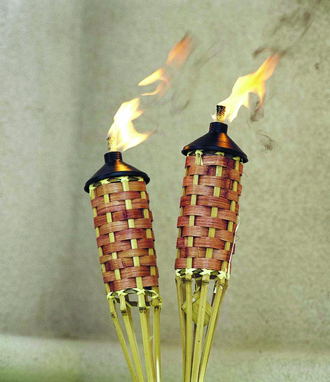 2x Bamboo Torch 90cm Natural Lamp Oil Garden Torch Flare Bamboo Torch Lamp