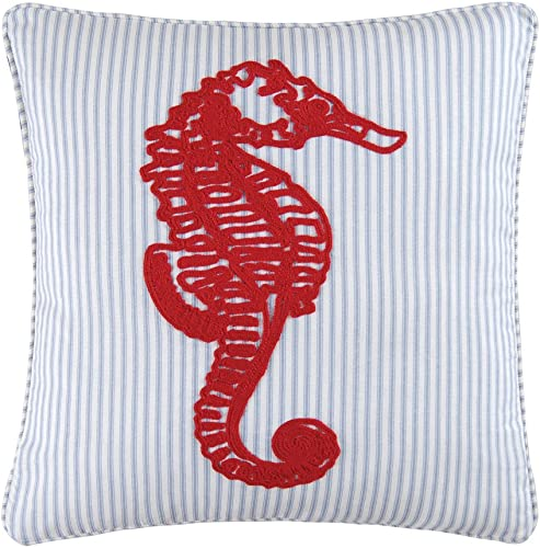 C F Enterprises Knotty Buoy Square Red Seahorse Pillow