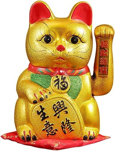 FANCY PUMPKIN 15 Waving Lucky Fortune Cat Maneki Neko Japanese Porcelain Lucky Cat H34CM