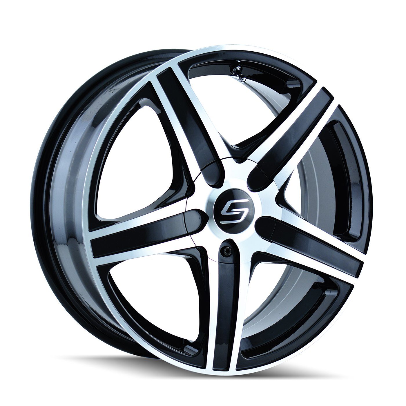 16x7//5x112mm Sacchi 248-6709B S48 Black Wheel with Machined Face//Lip