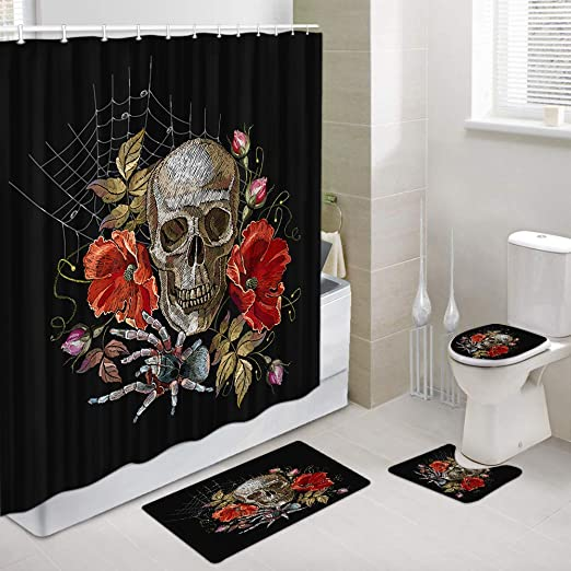 Red Rose Flower Bath Mat Toilet Cover Rug Shower Curtain Bathroom Decor Set