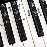 Klavier + Keyboard Noten-Aufkleber für 49 | 61 | 76 | 88 Tasten + Gratis Ebook | Premium Piano Sticker Komplettsatz für schwarze + weisse Tasten | C-D-E-F-G-A-H | einfache Anleitung auf Deutsch