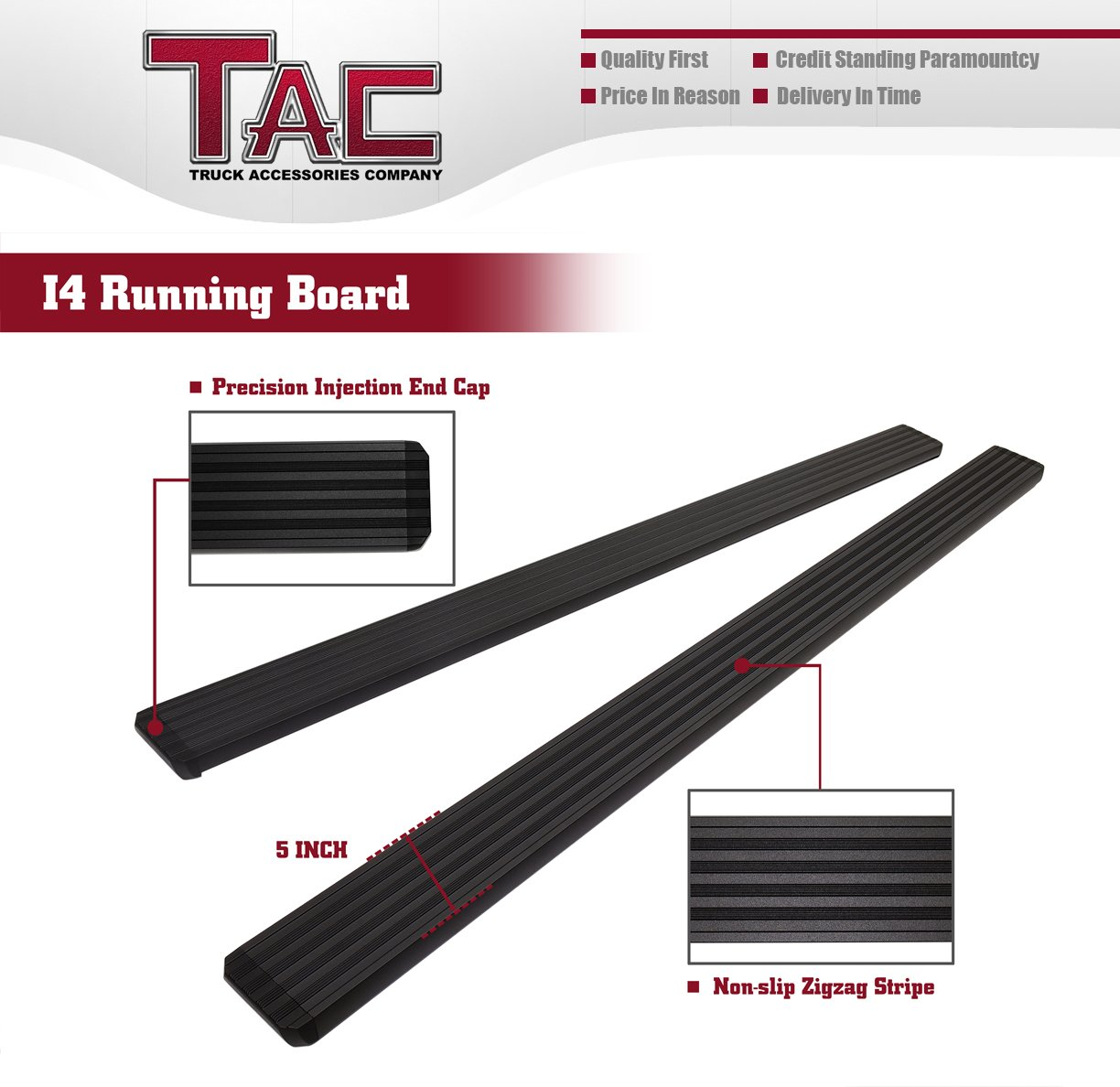 TAC Running Boards Fit 2011-2019 Ford Explorer SUV Aluminum Black Side Steps Nerf Bars Step Rails Truck Pickup Rock Panel Off Road Exterior Accessories 2 Pieces Running Boards