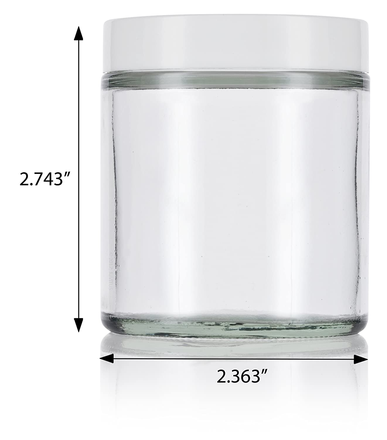 Clear Thick Glass Straight Sided Jar with White Smooth Lids – 4 oz 120 ml 12 pack Labels Small Glass Balm Jar