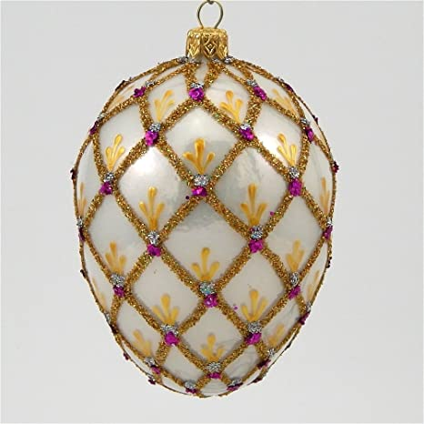 Amazon Com Faberge Inspired Royal Lace Egg Polish Blown Glass Christmas Ornament Home Kitchen