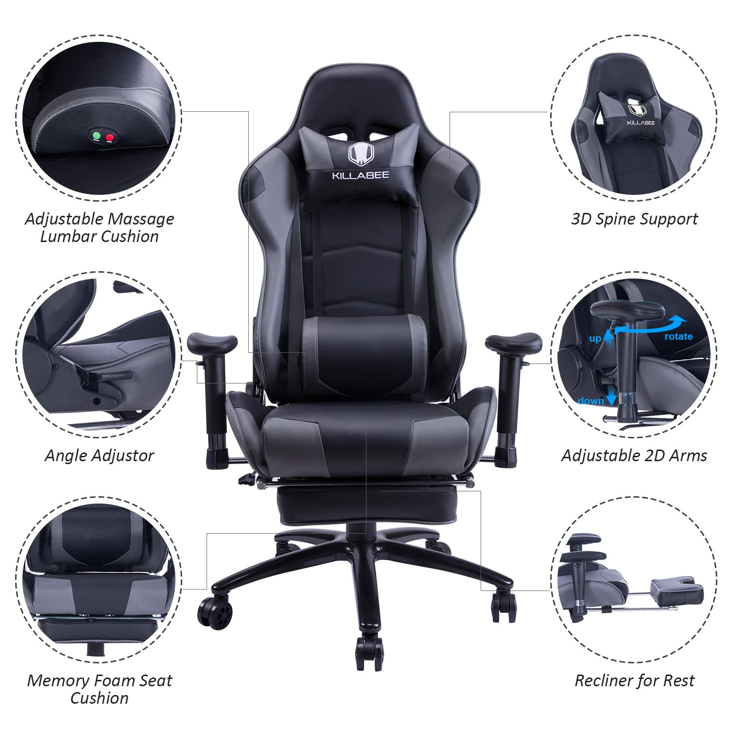 KILLABEE Big and Tall 350lb Massage Gaming Chair Metal Base - Adjustable Massage Lumbar Cushion, Retractable Footrest High Back Ergonomic Leather Racing Computer Desk Executive Office Chair by KILLABEE (Image #3)