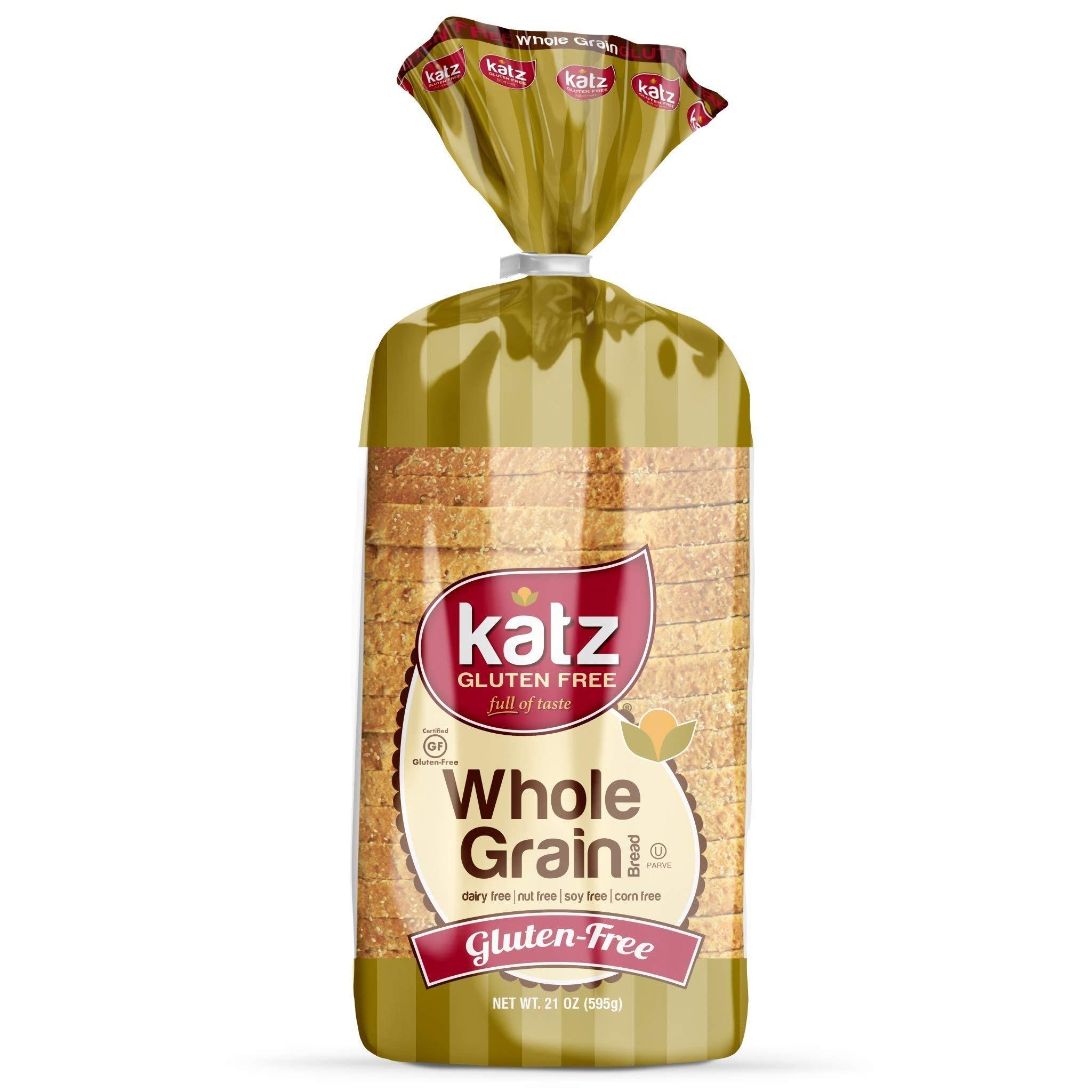 Katz Gluten Free Whole Grain Bread | Dairy, Nut, Soy and Gluten Free | Kosher (6 Packs of 1 Sliced Loaf, 21 Ounce Each) by Katz Gluten Free