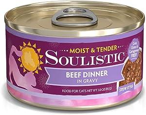 Soulistic Moist & Tender Beef Dinner in Gravy Wet Cat Food, 3 oz., Case of 12, 12 X 3 OZ