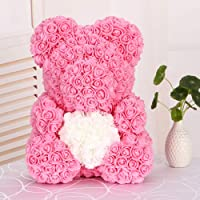 elegantstunning 40cm Artificiale Rose Cartoon Bear Toy Home Matrimonio Decorazione Artigianato