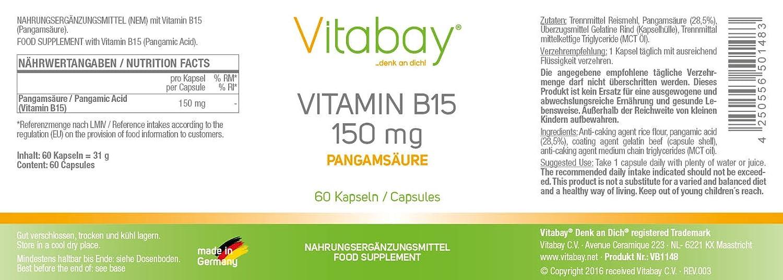 Vitamina B 15-150 mg - Ácido pangamico N, N-dimetilglicina - 60 cápsulas - Materias primas farmacéuticas: Amazon.es: Salud y cuidado personal