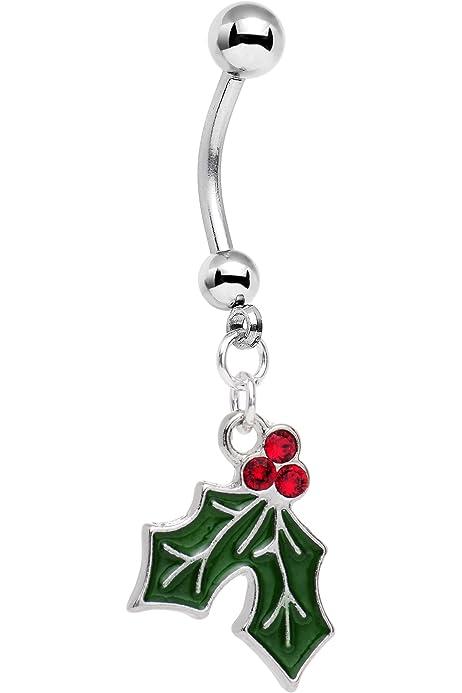 Amazon Com Body Candy Holiday Mistletoe Dangle Belly Ring Created