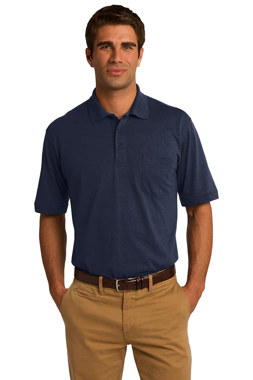 KP55P Deep Navy Port /& Company Core Blend Jersey Knit Pocket Polo