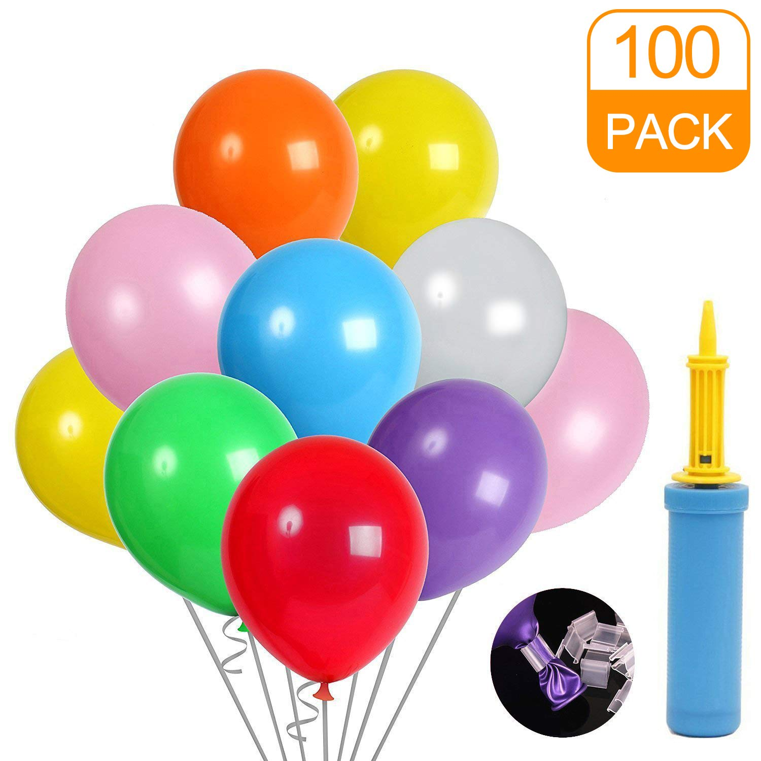 Balloons 100 Pack Assorted Colored and Balloon Pump and Balloon Clip for Wedding Graduation Birthday Party Decoration Supplies