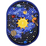 Joy Carpets Kid Essentials Geography & Environment Oval Cosmic Wonders Rug, Black, 5