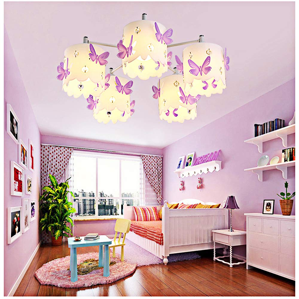 Kids chandeliers for girls room led purple crystals butterfly round ceiling lighting princess modern simple warm romantic design style ceiling lamp