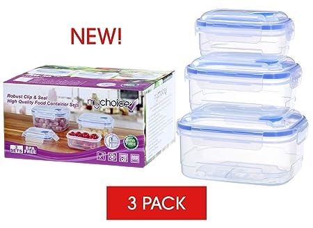 MyChoice Clip & Seal Recipientes de alimentos de alta calidad, ventilación de liberación de vapor, aptos para microondas/ lavavajillas,/ congelador, 1 ...