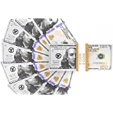 Realistic Double Sided Prop Money - Set of 100 $100 Dollar Bills $10,000 with Orange Currency Strap - Full Print Paper Money for Movie, TV, Videos, Pranks, Advertising & Novelty, 6.25 x 2.5 Inches