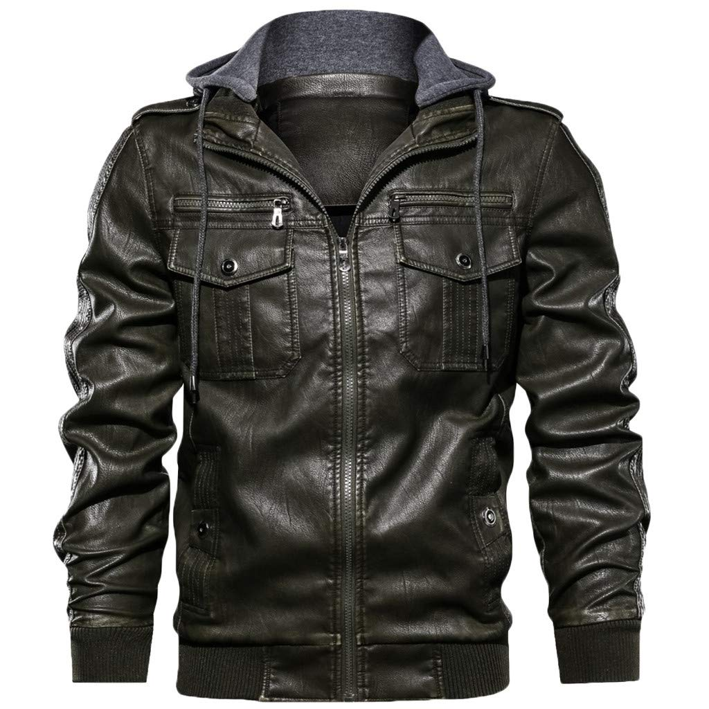 DDLmax Bomber Jacket for Men Autumn Winter Vintage Zipper Hoodie Pure Color Imitation Leather Coat Coffee