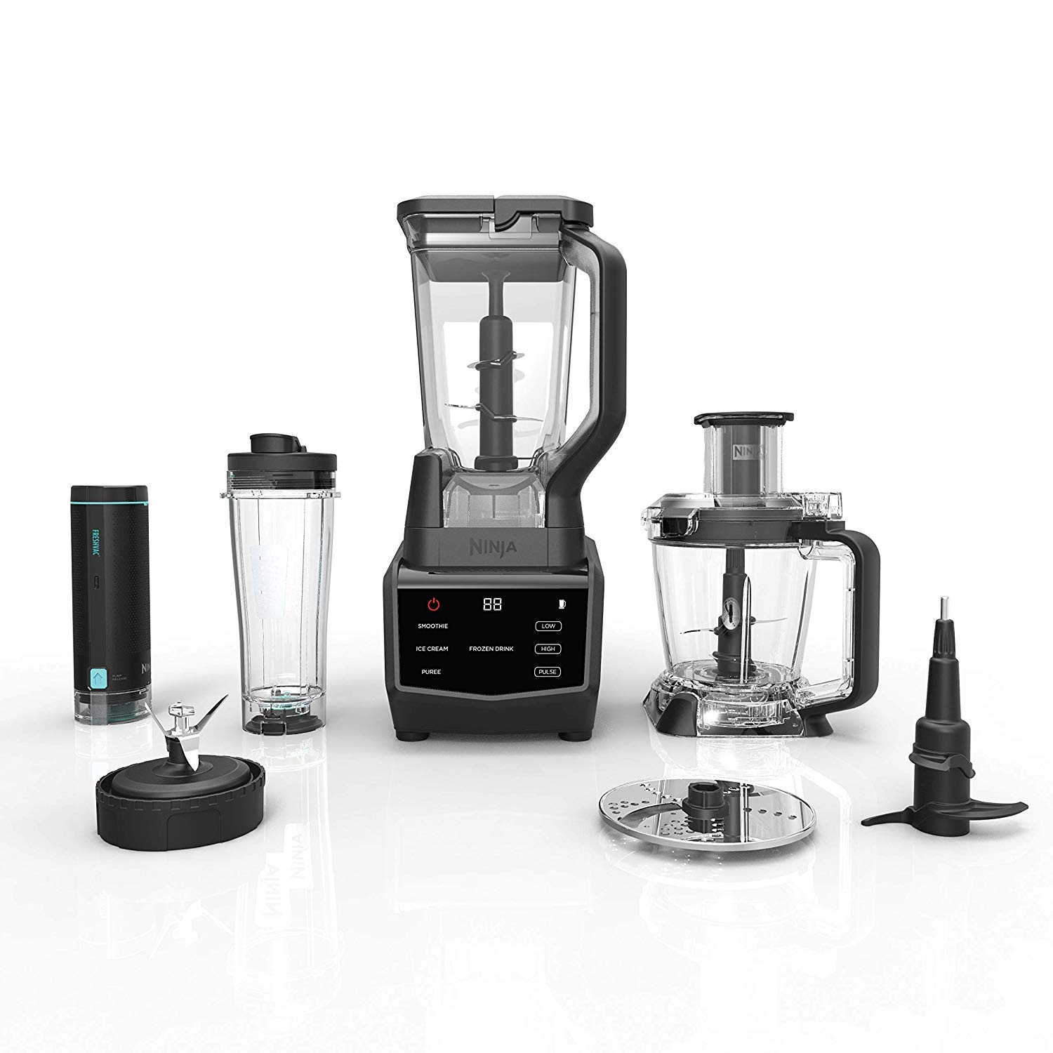 Smart Screen Blender and Food Processor with FreshVac Technology, 1400-Peak-Watt Base, 9 Auto-iQ Programs & Touchscreen Display for Ninja (CT672V) (Renewed)