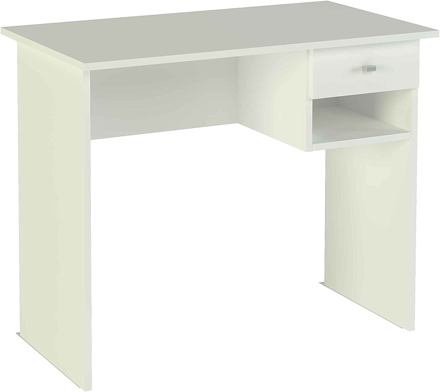 Meka-Block Mesa de Estudio, Nogal, Blanco: Amazon.es: Hogar