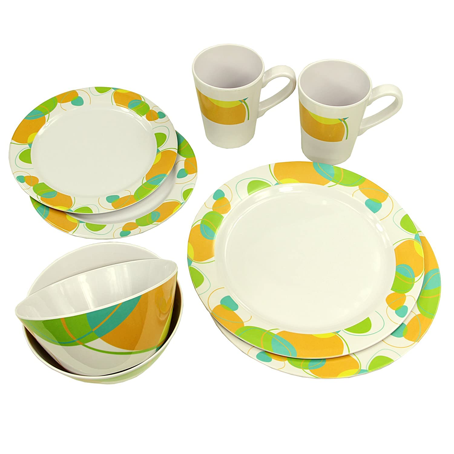 10T Outdoor Equipment Unisex's Arvon Dinnerware Camping Tableware Set (8 Piece), Orange, One Size 765532