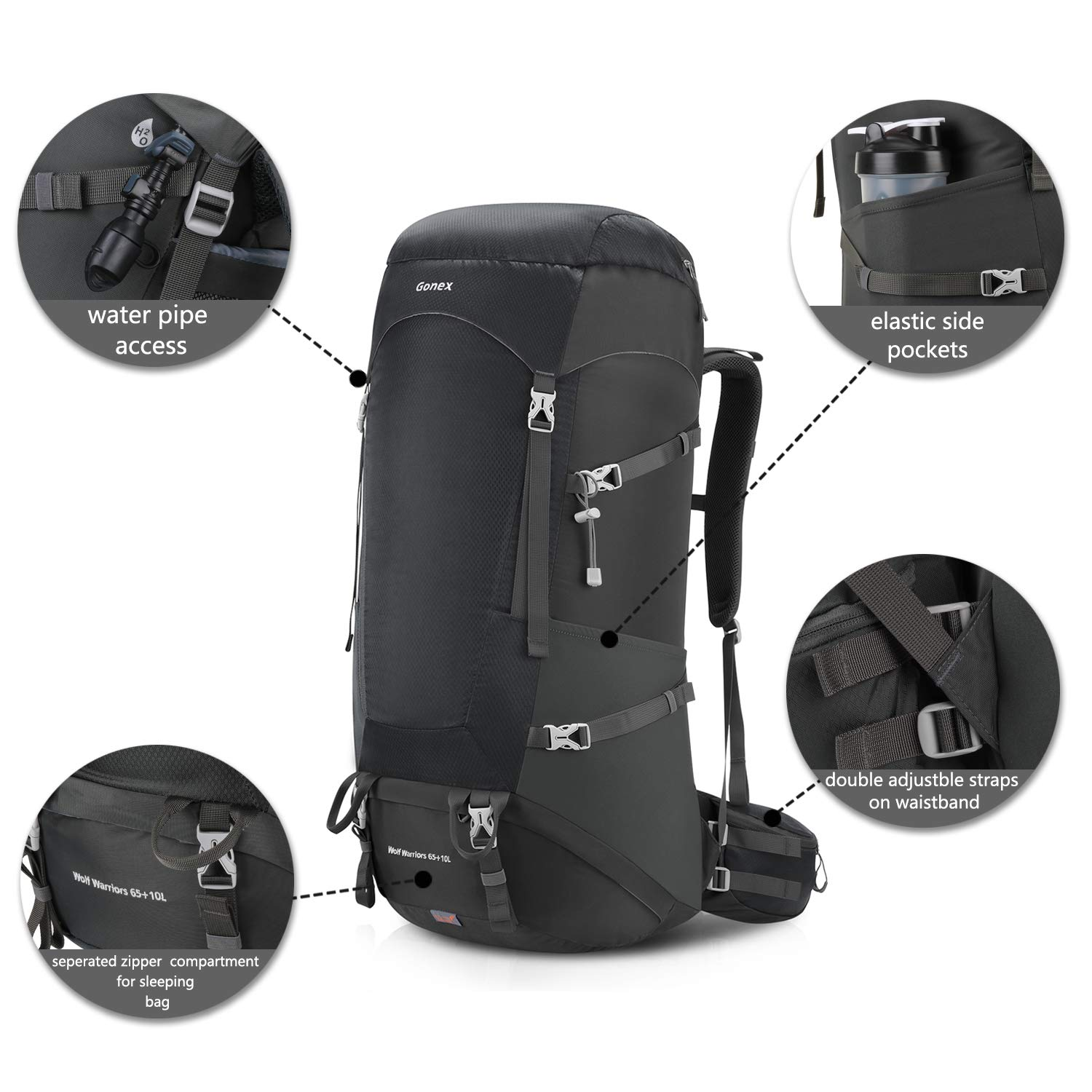 Gonex 65+10L Backpack for Hiking Traveling Camping with Internal Frame Rain Cover