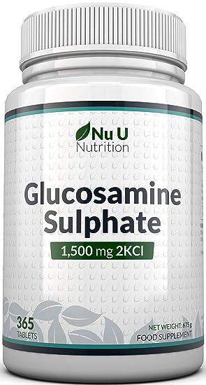 Sulfato de Glucosamina 1.500 mg 2KCl, 365 comprimidos (Suministro Para 1 Año)   Alta Potencia   Fabricado en el Reino Unido por Nu U Nutrition.