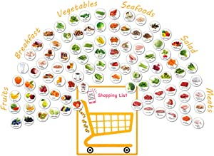 MORCART 96PCS Fridge Magnets Kitchen Food List Breakfast Vegetables Fruits Seafood Salad Meats Decorative Refrigerator Office Locker Cabinets Classroom Whiteboards Gifts for Kids and Cooking Lovers