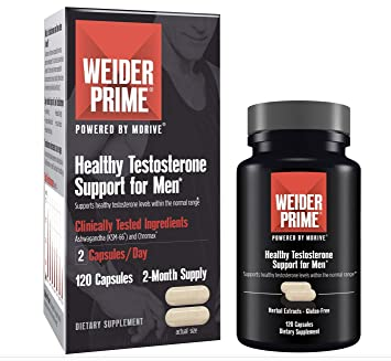 Weider Prime Low-T Supports Energy, Strength, Focus, Stress, Lean Muscle -  120 capsules