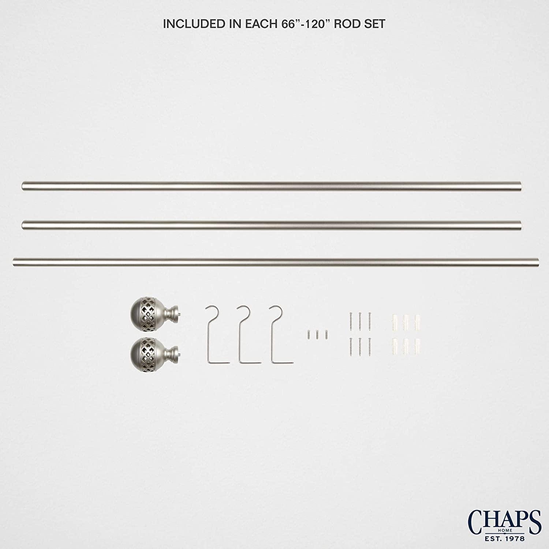 "Adjustable 35-66 Chaps Home Lattice Black /¾/"" Diameter Window Curtain Rod and Finial Set"