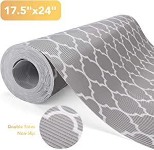 """Glotoch Shelf Liners for Kitchen Cabinets-Non Adhesive Cabinet and Drawer Liner, Roll, Double Sides Non-Slip,17.5"""" x 24 FT, Durable and Strong, Grip Liners for Drawers,Shelves, Kitchen Quatrefoil Grey"""