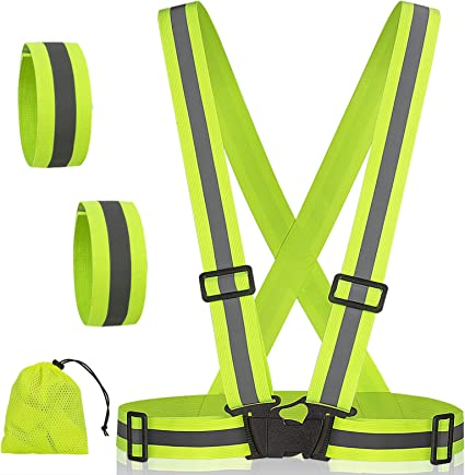 Outdoor Cycling Motorcycle Jogging Running Reflective Vest 2Pieces,with 4 Reflective Belts,Adjustable Safety Vest,High-Visibility Reflective Tape for Night Running