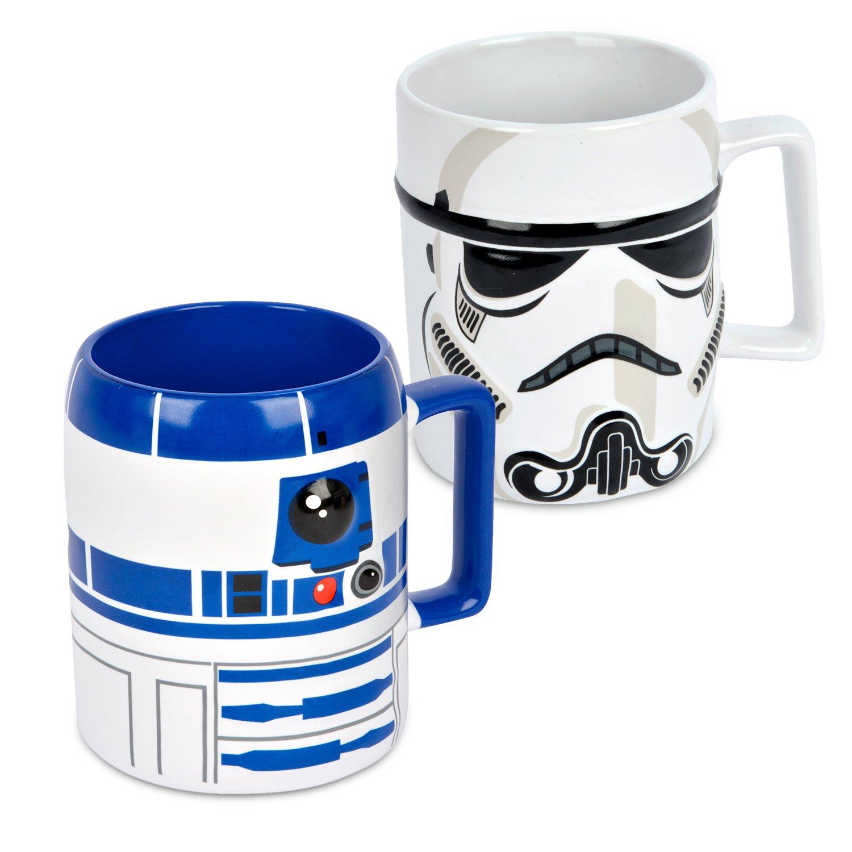 Mugs con Relieve de los Personajes de Star Wars R2-D2 y Darth Vader Ideal casa Pack de 2 Tazas de gres