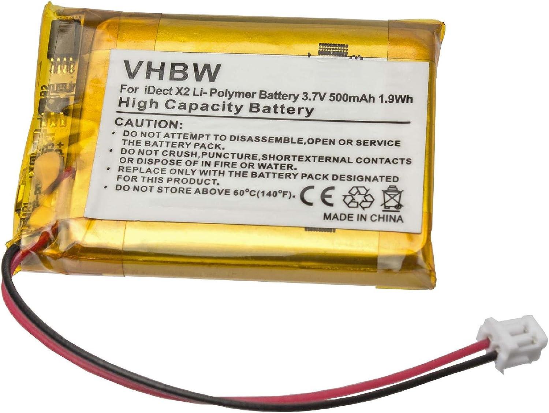 vhbw Li-Polymer batería 500mAh (3.7V) para teléfono Fijo inalámbrico iDECT X2, X2d, X2i, X2di, M1, M2 por MT LP053040, CP75.