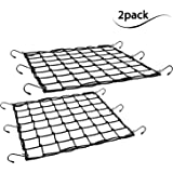 "2 Pack of Black 15""X15"" Cargo Net featuring 6 Adjustable Hooks & Tight 2""x2"" Mesh"