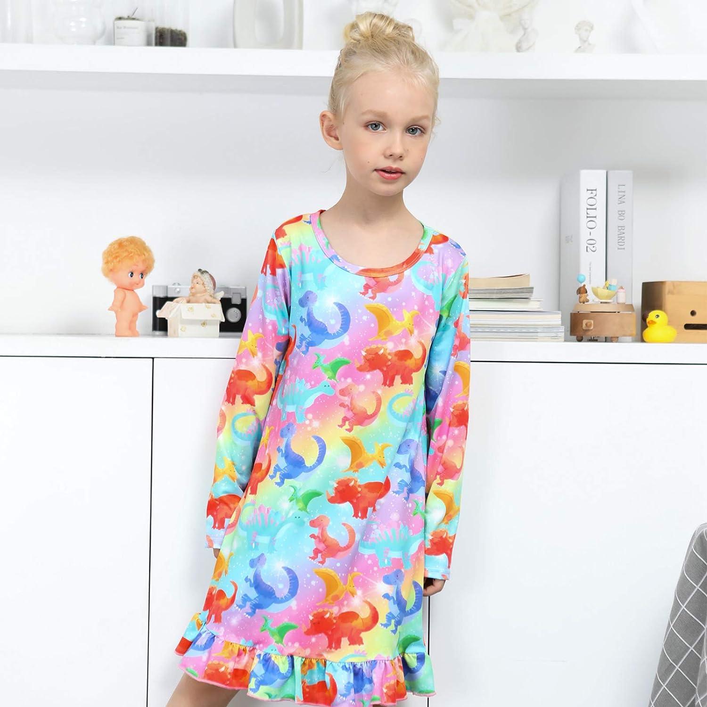 PASHOP Girls Nightgowns Princess Unicorn Nightie for Girls Sleepwear Pajama Dress for Kids Nightdress