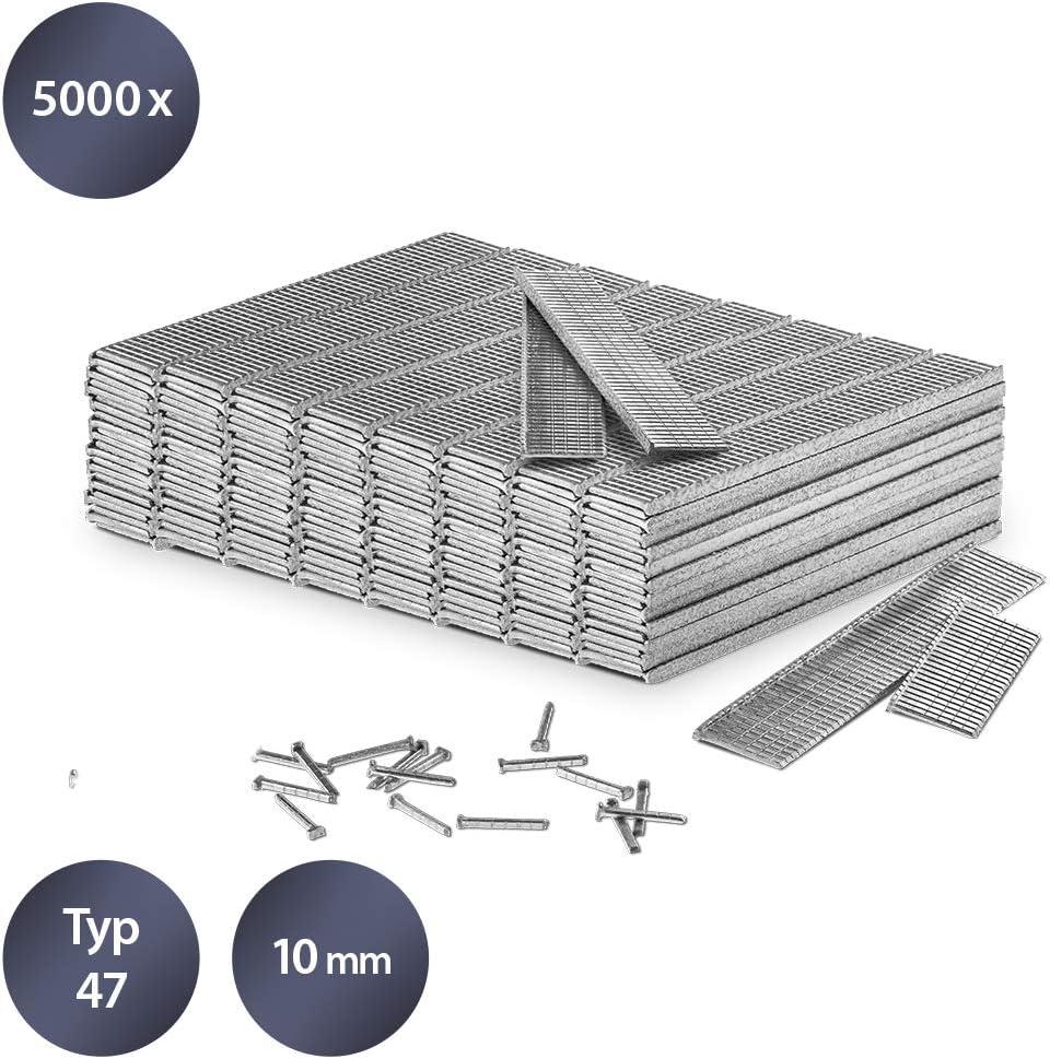 TROTEC Juego de clavos para grapadora tipo 47, 10 mm de longitud (5000 unidades) - Resistente a la corrosión
