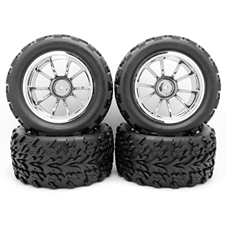 4 x caucho neumáticos neumáticos y llantas plástico plata, Monster Truck Bigfoot RC neumáticos para
